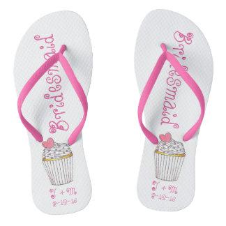 Flips-flopes rosados del boda de la dama de honor