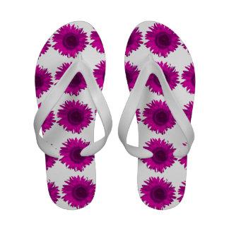 Flips-flopes rosados del girasol chanclas