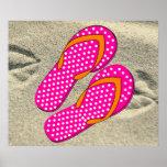Flips-flopes rosados punteados