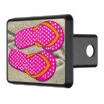 Flips-flopes rosados punteados tapa de remolque
