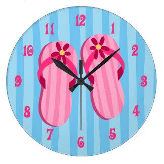 Flips-flopes rosados reloj redondo grande
