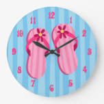 Flips-flopes rosados relojes de pared