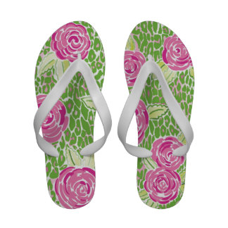Flips-flopes rosados y verdes de Mia Chanclas