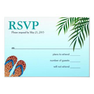 """Flips-flopes RSVP de la playa Invitación 3.5"""" X 5"""""""