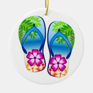 Flips-flopes tropicales adorno redondo de cerámica