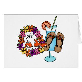 Flips-flopes tropicales tres de los chicas tarjeta de felicitación