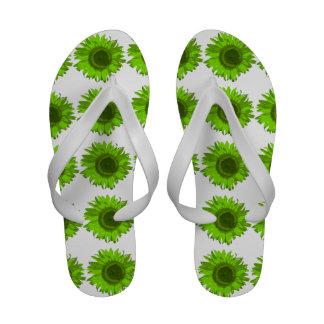Flips-flopes verdes del girasol sandalias