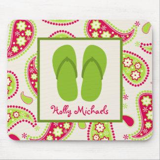 Flips-flopes verdes/rosa y verde Paisley Mousepad Tapete De Ratón