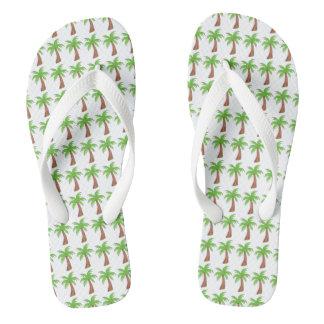 Flips-flopes verdes tropicales de la palmera