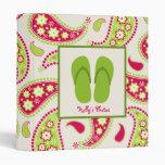 Flips-flopes verdes y carpeta rosada y verde de
