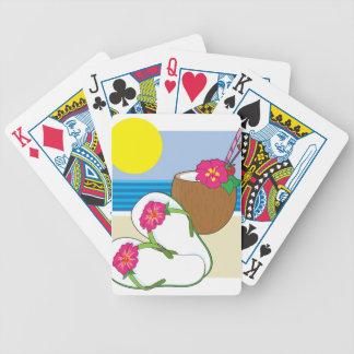 Flips-flopes y bebida baraja cartas de poker