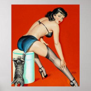 Flirt 1950 Pin Up Art Poster at Zazzle