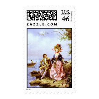 Flirt au Bord de la Mer Vintage Fine Art Print Postage Stamp