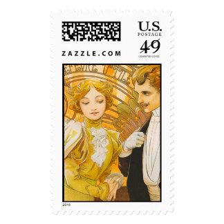 Flirt Biscuits Lefevre Utile, Alphonse Mucha - Pos Stamps