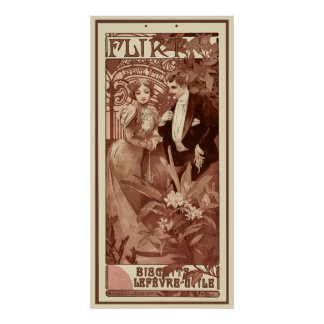 Flirt by Alphons Mucha Poster