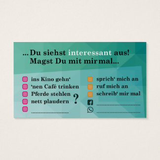"Flirt map ""interesting…""; with Kontaktfeldern Business Card"