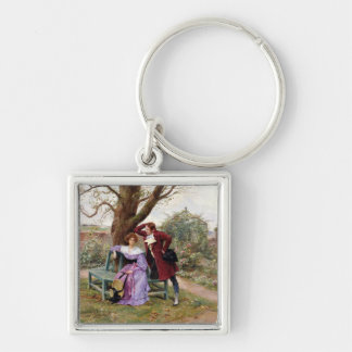Flirtation Silver-Colored Square Keychain