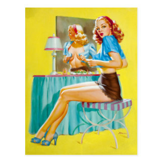 Flirting at Mirror Pin Up Postcard