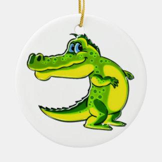 Flirting Crocodile Double-Sided Ceramic Round Christmas Ornament