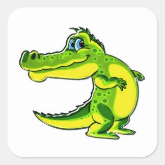 Flirting Crocodile Square Sticker