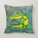 Flirting Crocodile Throw Pillows