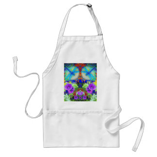 Flirting Dragonflies & Purple Flowers by Sharles Adult Apron