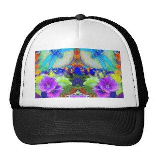 Flirting Dragonflies Purple Flowers by Sharles Hats