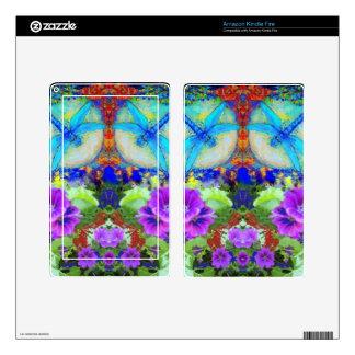 Flirting Dragonflies & Purple Flowers by Sharles Kindle Fire Skin