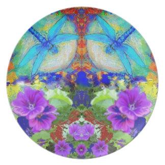 Flirting Dragonflies & Purple Flowers by Sharles Dinner Plates
