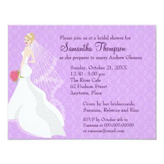 Flirty Blonde Lilac Bridal Shower Card