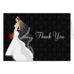 Flirty Ebony Bridal Shower Thank You Card