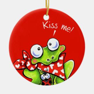 Flirty Frog n Ladybug Personalized Ceramic Ornament