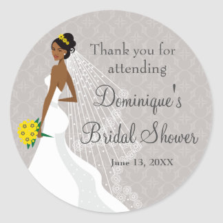 Flirty Grey Bridal Shower Thank You Classic Round Sticker