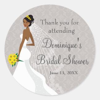 Flirty Grey Bridal Shower Thank You Classic Round Sticker