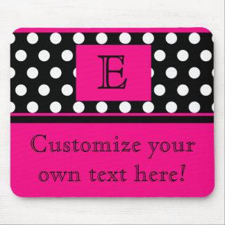 Flirty Pink and polka Dot Monogram mousepad
