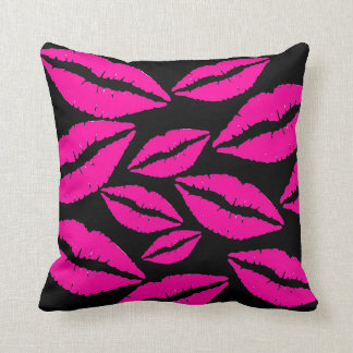 Flirty Pink Lipstick Kisses Throw Pillow
