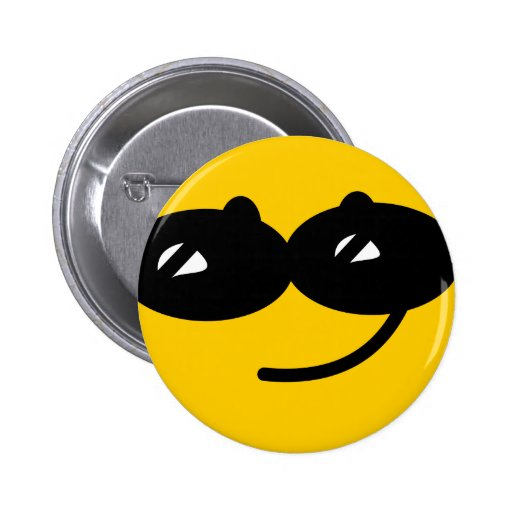 Flirty sunglasses smiley face 2 inch round button