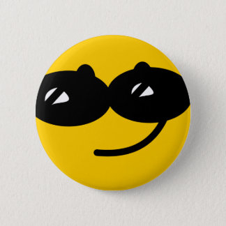 Flirty sunglasses smiley face pinback button