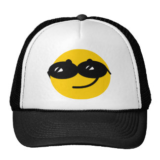 Flirty sunglasses smiley face trucker hat