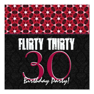 flirty 30 invitations Feeling flirty at thirty celebrate in style with this modern 30th birthday party invitation.