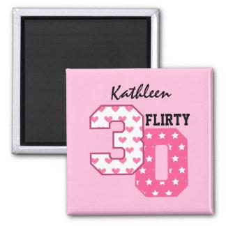 FLIRTY THIRTY 30th Birthday Pink Hearts Stars V20Z 2 Inch Square Magnet