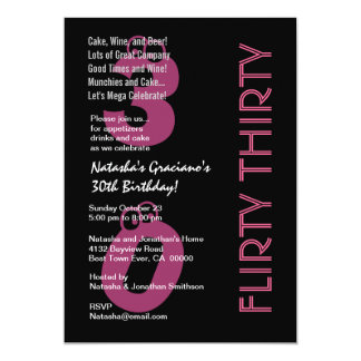 Flirty Thirty Birthday Black White PInk Template Personalized Announcement
