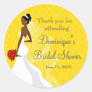 Flirty Yellow Bridal Shower Thank You Classic Round Sticker