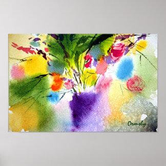 flloral con el poster púrpura del florero