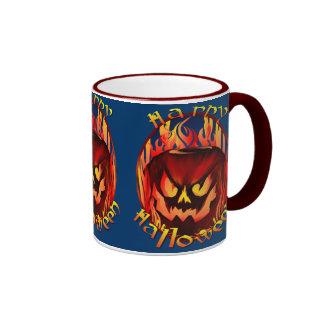 Flmaing Pumkin Oval lettered Mugs