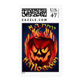 Flmaing Pumkin Oval lettered Postage
