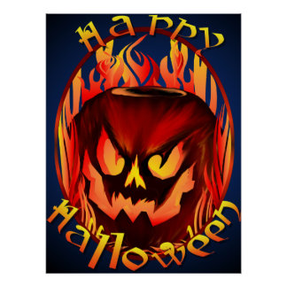 Flmaing Pumkin Oval lettered Poster