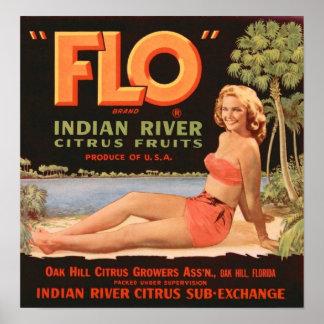 """FLO"" Citrus Crate Label Posters"