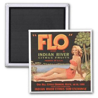 """Flo"" Indian River Fruit 2 Inch Square Magnet"