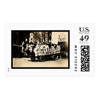 Float in Labor Day Parade New York City 1909 Stamp